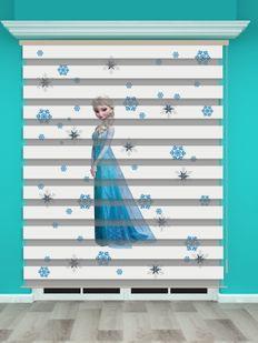 Frozen Elsa Baskılı Kız Çocuk Odası Zebra Perde - PM 005-1