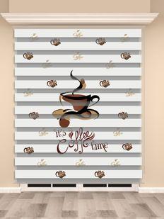 Dijital Baskılı Zebra Perde (Coffee Time) - PM 009-1