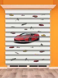 Kırmızı Yarış Arabası Baskılı Erkek Çocuk Odası Zebra Perde - PM 012-1
