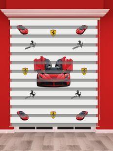 Kırmızı Araba Baskılı Erkek Çocuk Odası Zebra Perde - PM 013-1