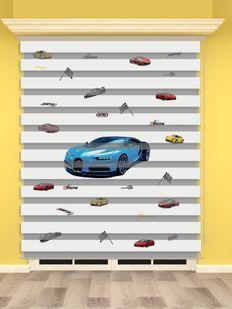 Mavi Yarış Arabası Baskılı Erkek Çocuk Odası Zebra Perde - PM 017-1