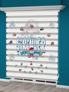 Şirinler Baskılı Çocuk Odası Zebra Perde - PM 018