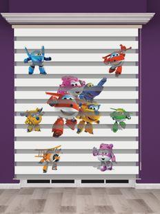 Uçaklar Baskılı Çocuk Odası Zebra Perde - PM 020-1