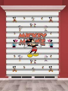 Mickey Mouse Baskılı Çocuk Odası Zebra Perde - PM 024
