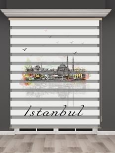 İstanbul Desenli Zebra Perde - PM 027-1