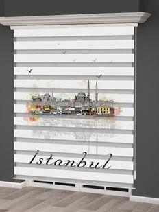 () İstanbul Desenli Zebra Perde - PM 027 Fiyatı, Yorumları - Eniyiperde.com - 2