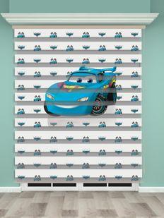 Mavi Araba Baskılı Erkek Çocuk Odası Zebra Perde - PM 029-1