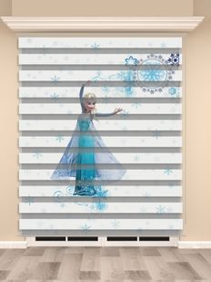 Frozen Elsa Baskılı Kız Çocuk Odası Zebra Perde - PM 035-1