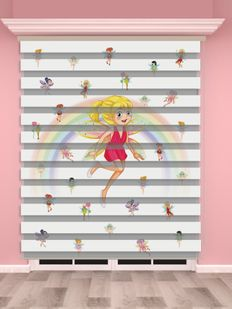 Peri Baskılı Kız Çocuk Odası Zebra Perde - PM 036-1