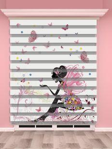 Peri, Kelebek Baskılı Kız Çocuk Odası Zebra Perde - PM 037-1