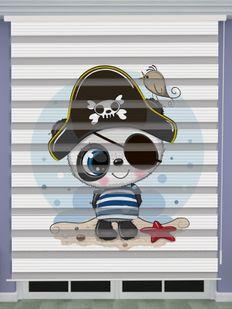 Korsan Panda Baskılı Erkek Bebek Odası Zebra Perde - PM 042