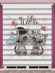 Sevimli Köpek Baskılı Bebek Odası Zebra Perde - PM 044