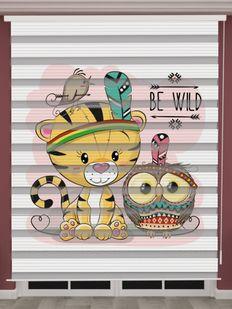 Kedi Baskılı Bebek Odası Zebra Perde - PM 045