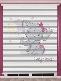 Fil Baskılı Kız Bebek Odası Zebra Perde - PM 049