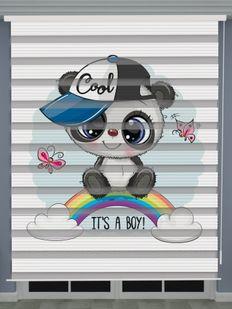 Panda Baskılı Erkek Bebek Odası Zebra Perde - PM 050