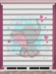 Sevimli Fil Baskılı Bebek Odası Zebra Perde - PM 051