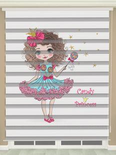 Prenses Baskılı Kız Çocuk Odası Zebra Perde - PM 052