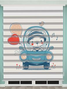 Oyuncak Ayı Baskılı Bebek Odası Zebra Perde - PM 054