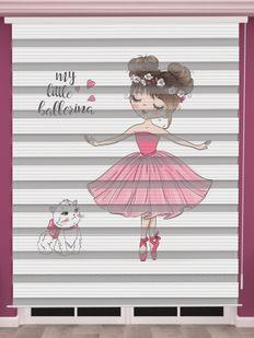 Balerin Baskılı Kız Çocuk Odası Zebra Perde - PM 055