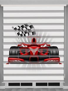 Formula 1 Baskılı Erkek Çocuk Odası Zebra Perde - PM 056
