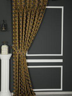 (Sarı) İnci Fon Perde Sarı 9214-567 Fiyatı, Yorumları - Eniyiperde.com - 1