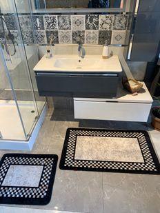(Siyah) Melany 2'li Lateks Kaymaz Taban Saçaksız Banyo Paspas Takımı Fiyatı, Yorumları - Eniyiperde.com - 2
