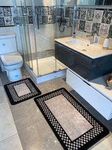 (Siyah) Melany 2'li Lateks Kaymaz Taban Saçaksız Banyo Paspas Takımı Fiyatı, Yorumları - Eniyiperde.com - 3