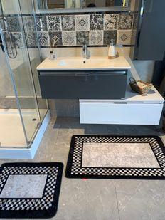 (Siyah) Melany 2'li Lateks Kaymaz Taban Saçaksız Banyo Paspas Takımı Fiyatı, Yorumları - Eniyiperde.com - 4