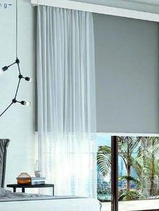 Yatak odası gri stor perde modelleri