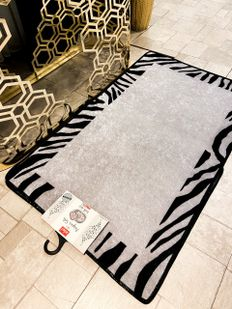(Siyah) Zebra Lıne Lateks Taban Su Geçirmez Saçaksız (70x110 - 70x50) İkili Banyo Paspas Takımı Fiyatı, Yorumları - shop.brillant.com - 4